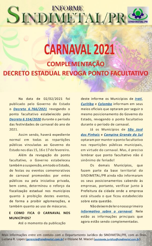 carnaval complementação iSend